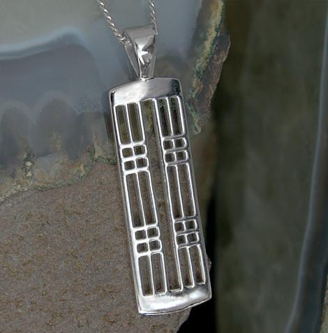 """Cairn 772 Silver Rennie Mackintosh Pendant - """"Hillhead"""". Tarnish Resistant. British Made. Rennie Mackintosh Jewellery."""