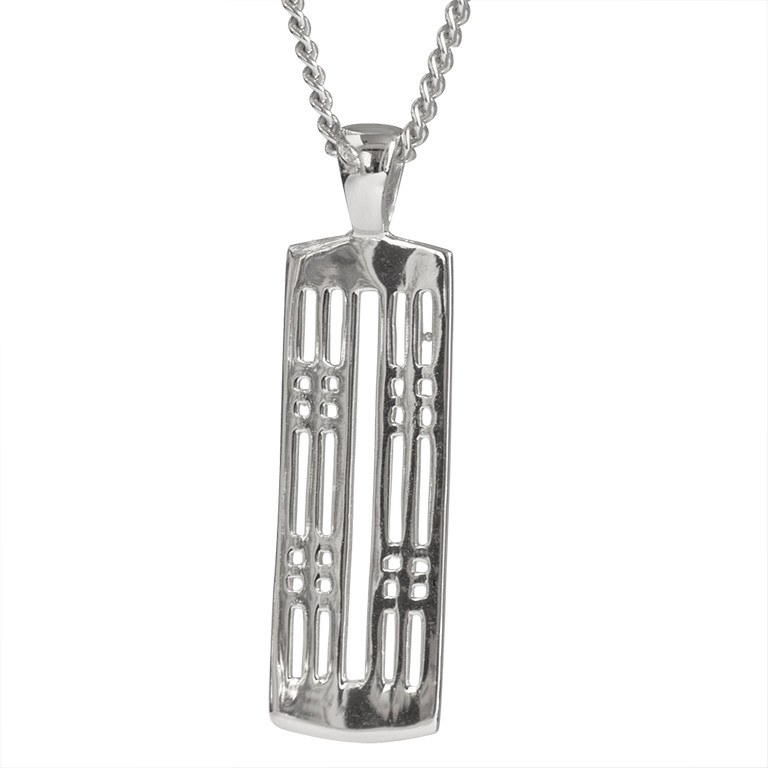 "Charles Rennie Mackintosh Necklace ""Hillhead"". Sterling Silver. Tarnish Resistant. Cairn 772"