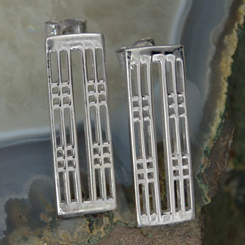 "Cairn 774 Silver Rennie Mackintosh Earrings - ""Hillhead"". Tarnish Resistant. British Made. Rennie Mackintosh Jewellery."