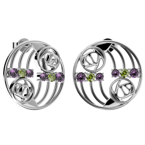 "Charles Rennie Mackintosh Earrings ""Glasgow"" Set With Amethysts & Peridots (12 stones) Sterling Silver. Tarnish Resistant. Cairn 775"