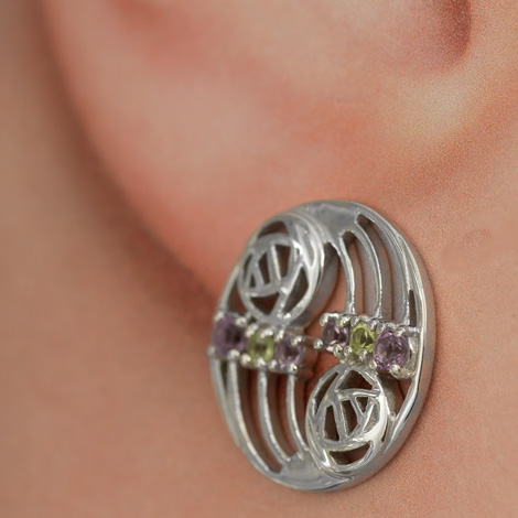 "Cairn 775 Silver Rennie Mackintosh Earrings ""Glasgow"" Set With Amethysts & Peridots (12 stones) Tarnish Resistant. British Made. Rennie Mackintosh Jewellery."