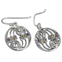 """Charles Rennie Mackintosh Earrings """"Glasgow"""" Set With Amethysts & Peridots (12 stones) Sterling Silver. Tarnish Resistant. Cairn 776"""
