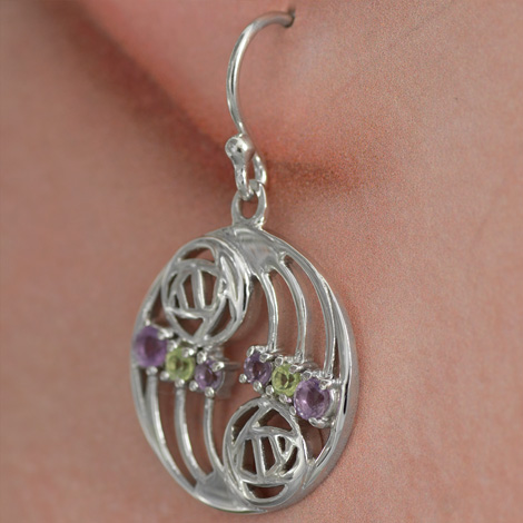 "Cairn 776 Silver Rennie Mackintosh Earrings ""Glasgow"" Set With Amethysts & Peridots (12 stones) Tarnish Resistant. British Made. Rennie Mackintosh Jewellery."