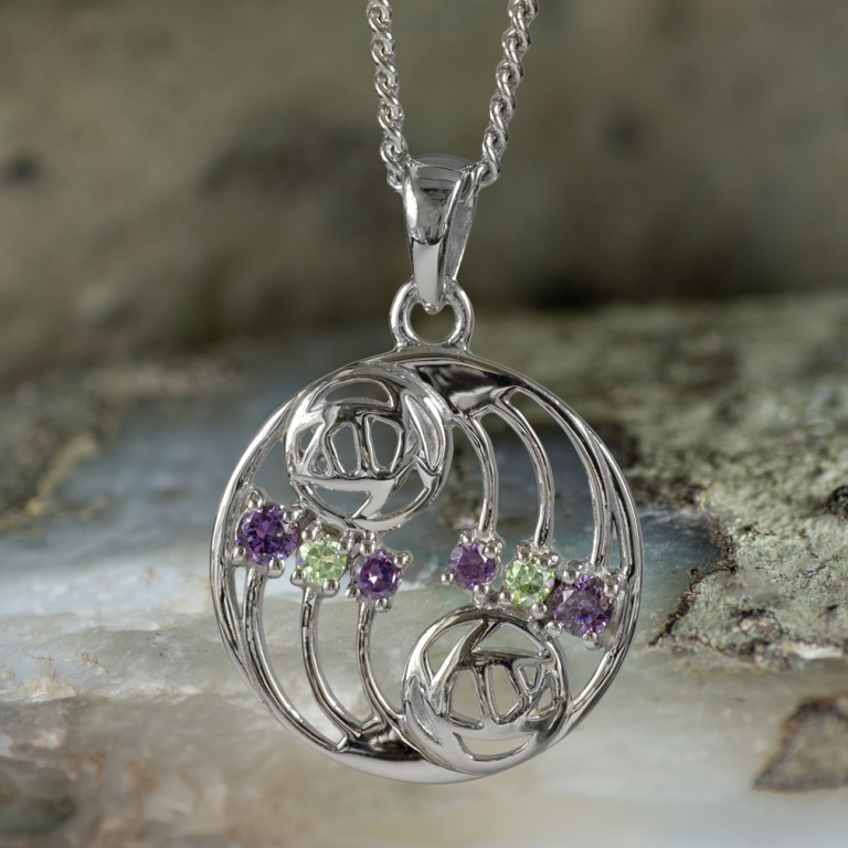 "Sterling Silver Charles Rennie Mackintosh Pendant ""Glasgow"" Set With Amethysts & Peridots. Tarnish Resistant. Cairn 777"