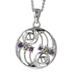 Amethysts & peridots. Silver necklace. Charles Rennie Mackintosh. Cairn pendant 777 Glasgow