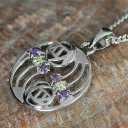 "Cairn 777 Silver Rennie Mackintosh Pendant ""Glasgow"" Set With Amethysts & Peridots. Tarnish Resistant. British Made. Rennie Mackintosh Jewellery."
