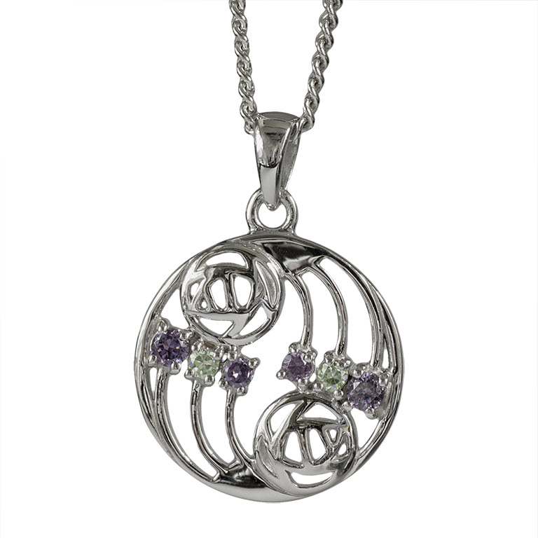 "Charles Rennie Mackintosh Necklace ""Glasgow"" Set With Amethysts & Peridots. Sterling Silver. Tarnish Resistant. Cairn 777"