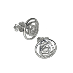 "Charles Rennie Mackintosh Stud Earrings ""Mains Roundel"". Sterling Silver. Tarnish Resistant. Cairn 791"