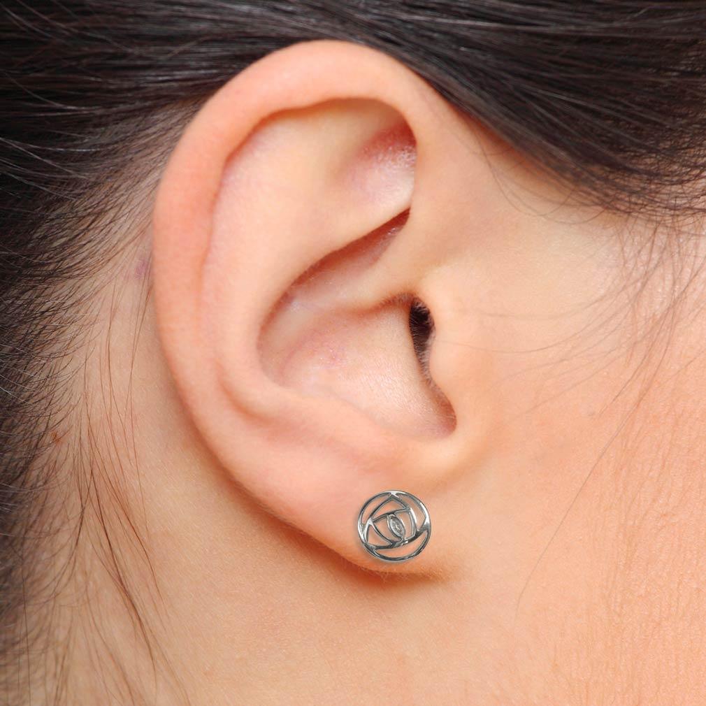 "Cairn 791 Silver Rennie Mackintosh Stud Earrings – ""Mains Roundel"". Tarnish Resistant. British Made."