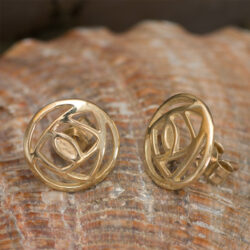 "Cairn 791G Gold Rennie Mackintosh Stud Earrings - ""Mains Roundel"" British Made. Rennie Mackintosh Jewellery."