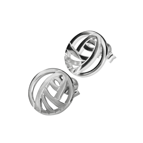 "Charles Rennie Mackintosh Stud Earrings ""Style"". Sterling Silver. Tarnish Resistant. Cairn 792"