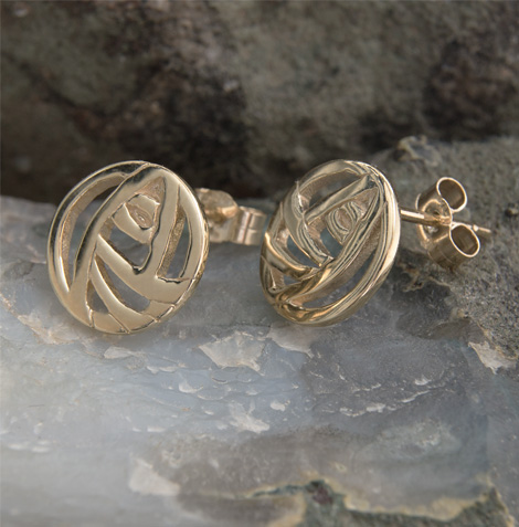 Cairn 792G Gold Rennie Mackintosh Stud Earrings - British Made. Rennie Mackintosh Jewellery.