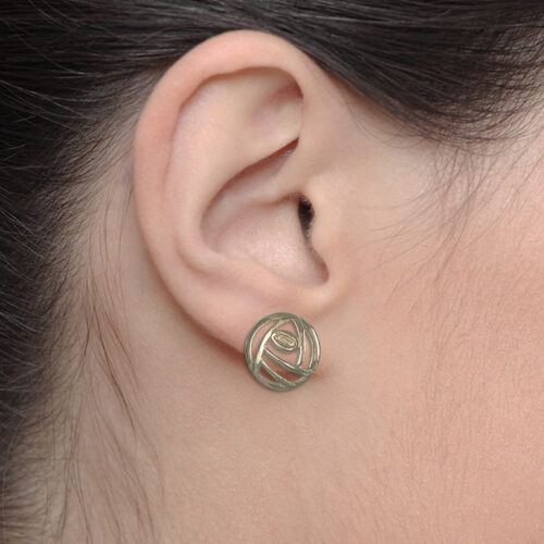 """9ct Gold Charles Rennie Mackintosh Stud Earrings """"Style"""" British Made. Cairn 792G"""