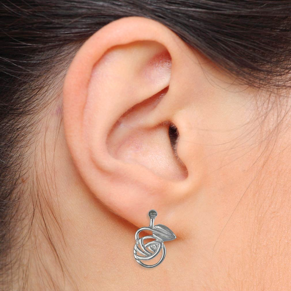"""Cairn 793 Silver Rennie Mackintosh Stud Earrings """"Nouveau"""". Tarnish Resistant. British Made."""