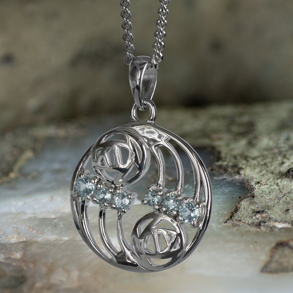 "Sterling Silver Charles Rennie Mackintosh Pendant ""Glasgow"" Set With 6 Aquamarines. Tarnish Resistant. Cairn 801"