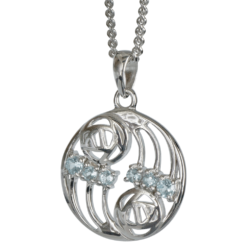 "Cairn 801 Silver Rennie Mackintosh Pendant ""Glasgow"" Set With 6 Aquamarines. Tarnish Resistant. British Made."