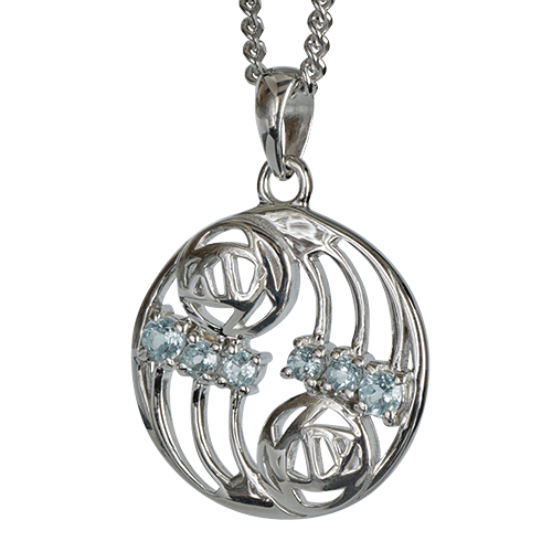 6 aquamarines. Silver necklace. Charles Rennie Mackintosh. Cairn pendant 801 Glasgow
