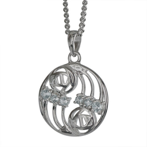 "Charles Rennie Mackintosh Necklace ""Glasgow"" Set With 6 Aquamarines. Sterling Silver. Tarnish Resistant. Cairn 801"