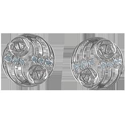 12 aquamarines. Sterling silver. Mackintosh earrings. Cairn 802