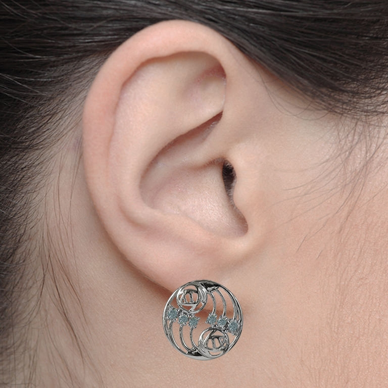 "Charles Rennie Mackintosh Earrings ""Glasgow"" Set With Aquamarines (12 stones) Sterling Silver. Tarnish Resistant. Cairn 802"