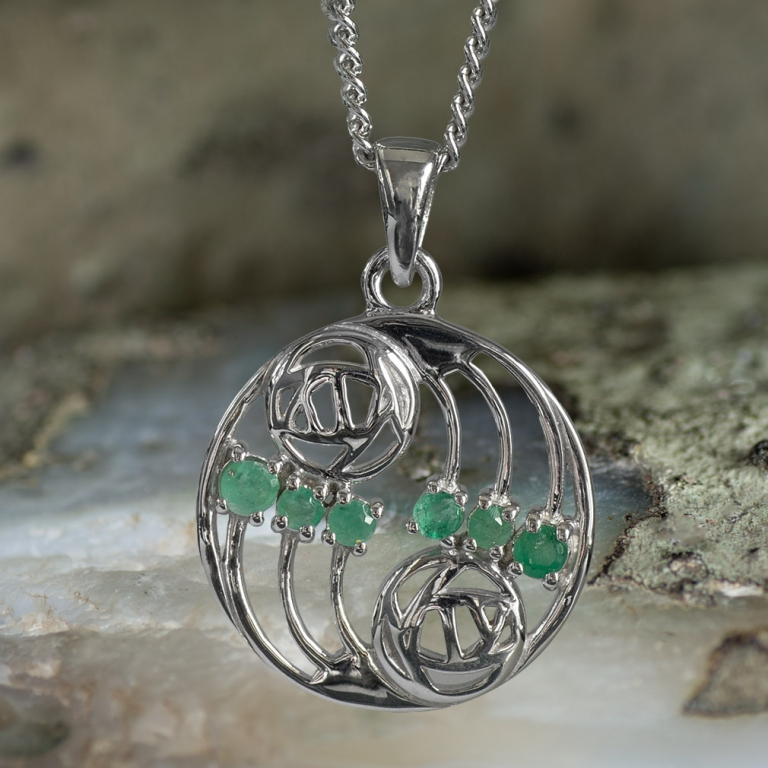 "Sterling Silver Charles Rennie Mackintosh Pendant ""Glasgow"" Set With 6 Emeralds. Tarnish Resistant. Cairn 806"