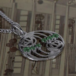 "Charles Rennie Mackintosh Necklace ""Glasgow"" Set With 6 Emeralds. Sterling Silver. Tarnish Resistant. Cairn 806"