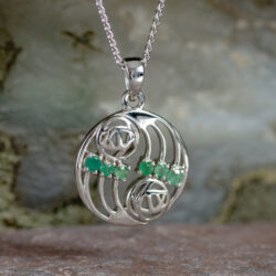 "Cairn 806 Silver Rennie Mackintosh Pendant ""Glasgow"" Set With 6 Emeralds 2"
