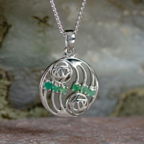 """Cairn 806 Silver Rennie Mackintosh Pendant """"Glasgow"""" Set With 6 Emeralds 2"""