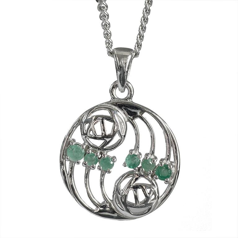 "Charles Rennie Mackintosh Necklace ""Glasgow"" Set With 6 Emeralds. Sterling Silver. Tarnish Resistant. Cairn 806"