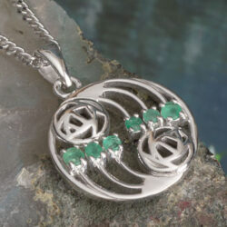 "Cairn 806 Silver Rennie Mackintosh Pendant ""Glasgow"" Set With 6 Emeralds. Tarnish Resistant. British Made. Rennie Mackintosh Jewellery."