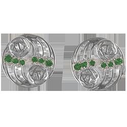 12 emeralds. Silver Charles Rennie Mackintosh earrings. Cairn 807