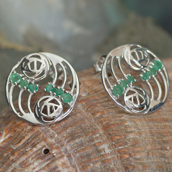 "Cairn 807 Silver Rennie Mackintosh Earrings ""Glasgow"" Set With Emeralds (12 stones) Tarnish Resistant. British Made. Rennie Mackintosh Jewellery."