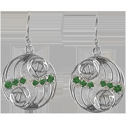 12 Emeralds. Silver earrings. Charles Rennie Mackintosh. Cairn 808
