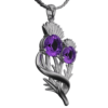 """Stainless Steel Scottish Thistle Pendant """"Appin"""" Set With Amethysts 902LAM"""