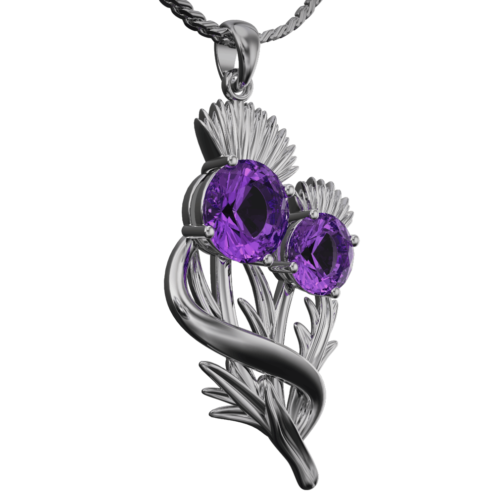"Stainless Steel Scottish Thistle Pendant ""Appin"" Set With Amethysts 902LAM"