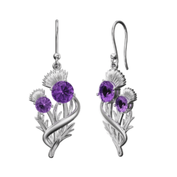 "Stainless Steel Scottish Thistle Earrings ""Appin"" Set With Amethysts 903LAM"