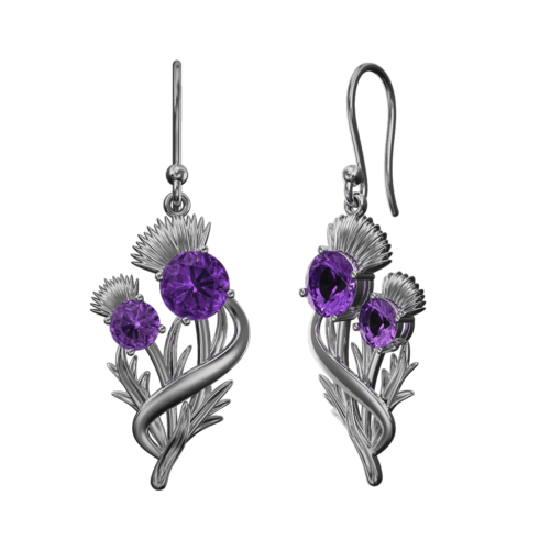 "Stainless Steel Scottish Thistle Earrings ""Appin"" Set With Amethysts. 903LAM"