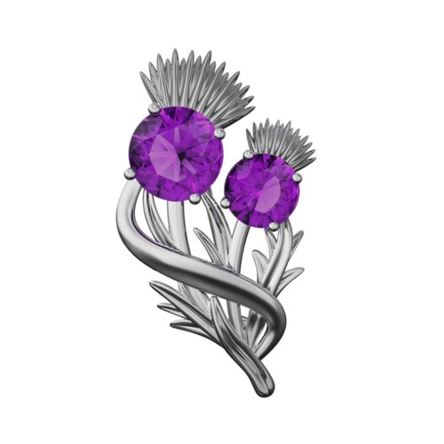 "Stainless Steel Scottish Thistle Brooch ""Appin"" Set With Amethysts 904LAM"