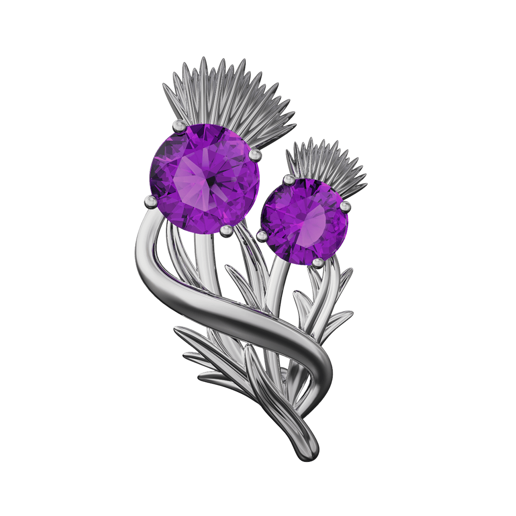 """Stainless Steel Scottish Thistle Brooch """"Appin"""" Set With Amethysts 904LAM"""