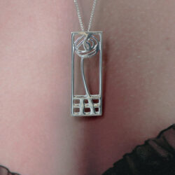 "DWO227 Classic Ortak Sterling Silver Charles Rennie Mackintosh Pendant & Silver 18"" Chain"