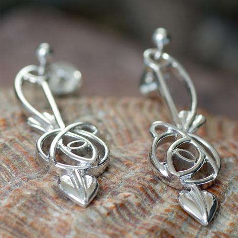 DWO265 Ortak Sterling Silver Charles Rennie Mackintosh Earrings.