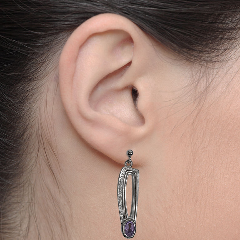 Ortak Charles Rennie Mackintosh Earrings With Amethyst. Sterling Silver. DWO419 CE220AMY