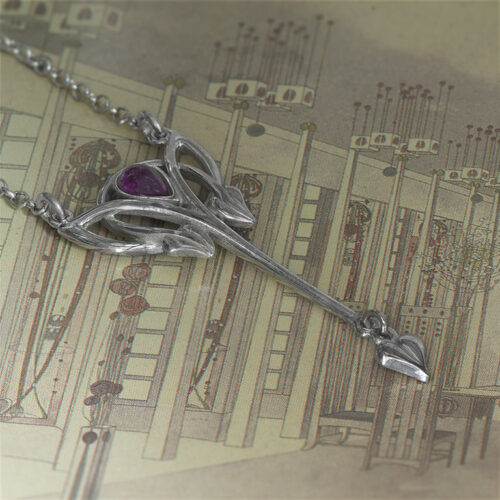 """""""Glasgow Girls"""" Charles Rennie Mackintosh Contemporary Necklace Set With A Cabouchon Amethyst Sterling Silver. HSH021"""