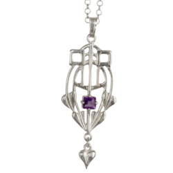 "HSH030 ""Glasgow Girls"" Silver Pendant Set With A Facetted Amethyst GP250/A"