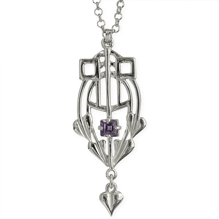 """Glasgow Girls"" Charles Rennie Mackintosh Contemporary Necklace Set With A Facetted Amethyst Sterling Silver HSH030 GP250/A"
