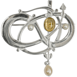 HSH040 Sterling Silver Entwined Brooch With Citrine & Pearls GB105/C