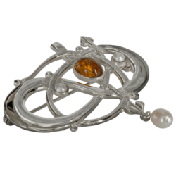 """Glasgow Girls"" Charles Rennie Mackintosh Contemporary Entwined Brooch With Citrine & Pearls Sterling Silver. HSH040 GB105/C"