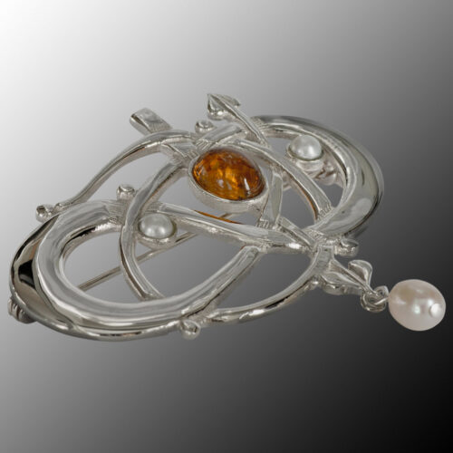 """HSH040 Silver """"Glasgow Girls"""" Entwined Brooch With Citrine & Pearls GB105/C"""