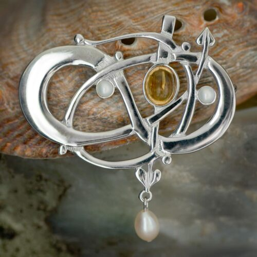 """HSH040 Sterling Silver """"Glasgow Girls"""" Entwined Brooch With Citrine & Pearls GB105/C 1"""
