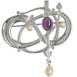 """Glasgow Girls"" Charles Rennie Mackintosh Contemporary Entwined Brooch With Amethyst & Pearls Sterling Silver. HSH041 GB105/A"